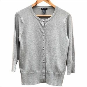 AUDREY & GRACE Gray Button Up Sweater Cardigan M